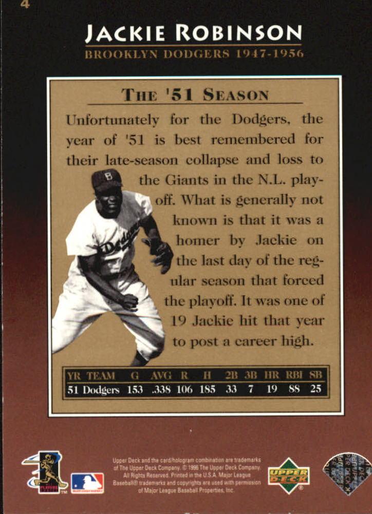 1997 Upper Deck #4 Jackie Robinson back image
