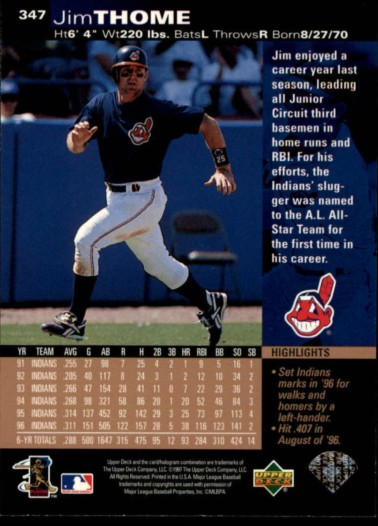 1997 Upper Deck #347 Jim Thome back image
