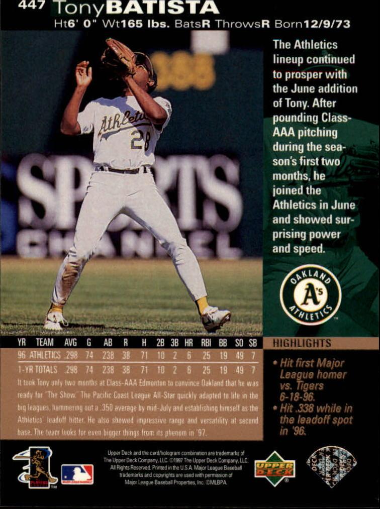 1997 Upper Deck #447 Tony Batista back image