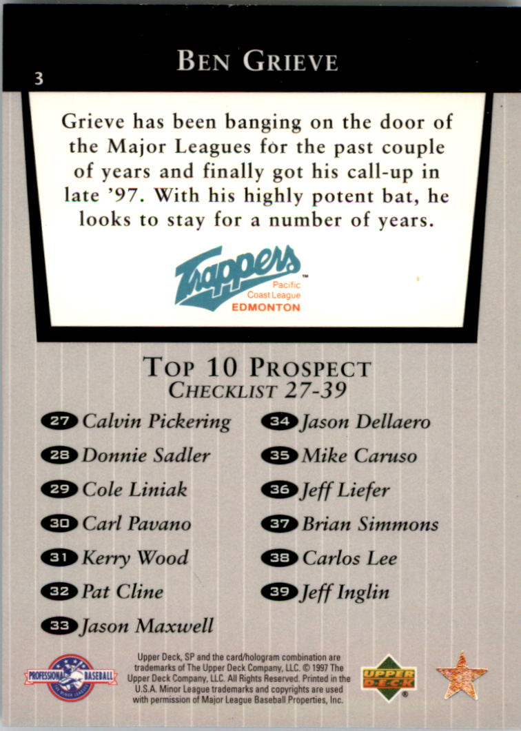 1998 SP Top Prospects #3 Ben Grieve T10 back image