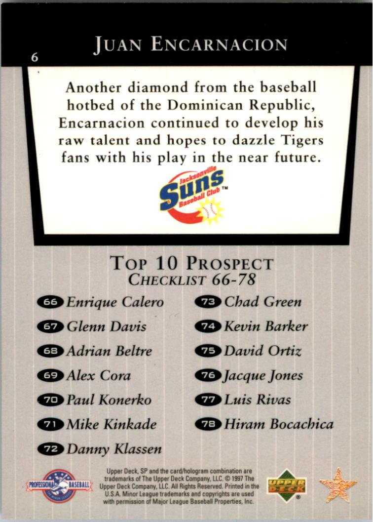 1998 SP Top Prospects #6 Juan Encarnacion T10 back image