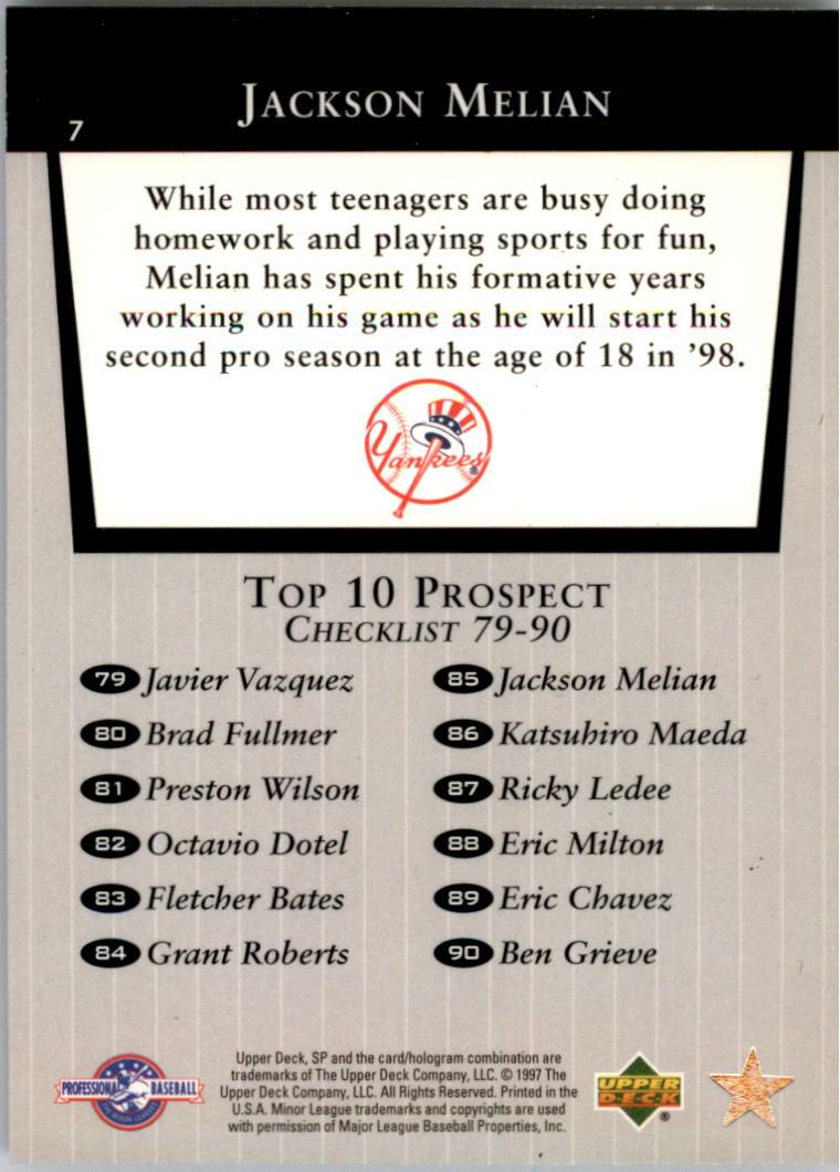 1998 SP Top Prospects #7 Jackson Melian T10 back image