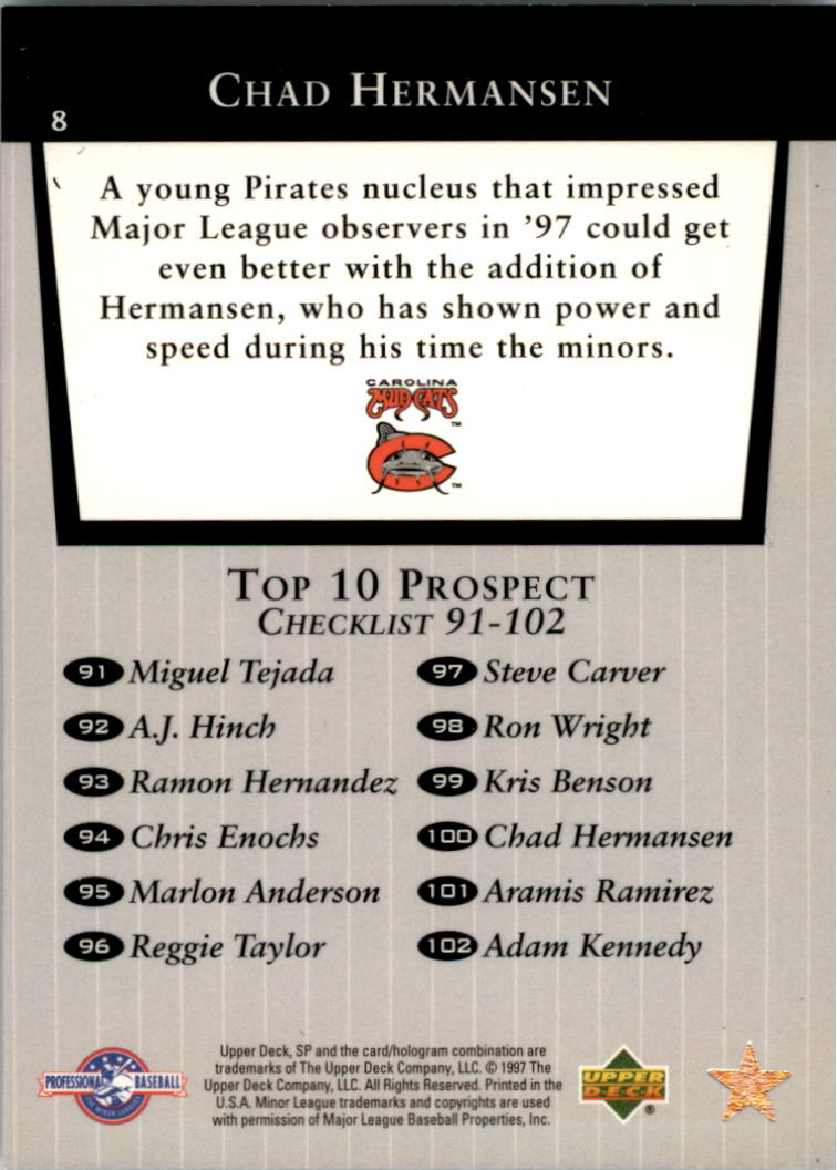 1998 SP Top Prospects #8 Chad Hermansen T10 back image