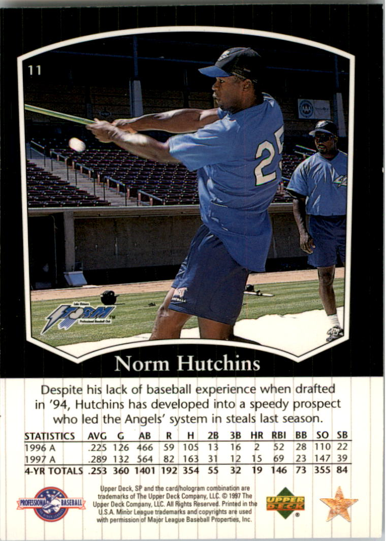 1998 SP Top Prospects #11 Norm Hutchins back image