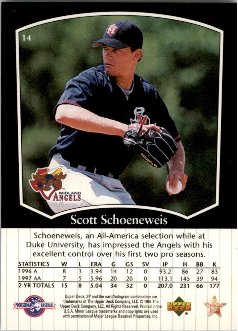 1998 SP Top Prospects #14 Scott Schoeneweis back image