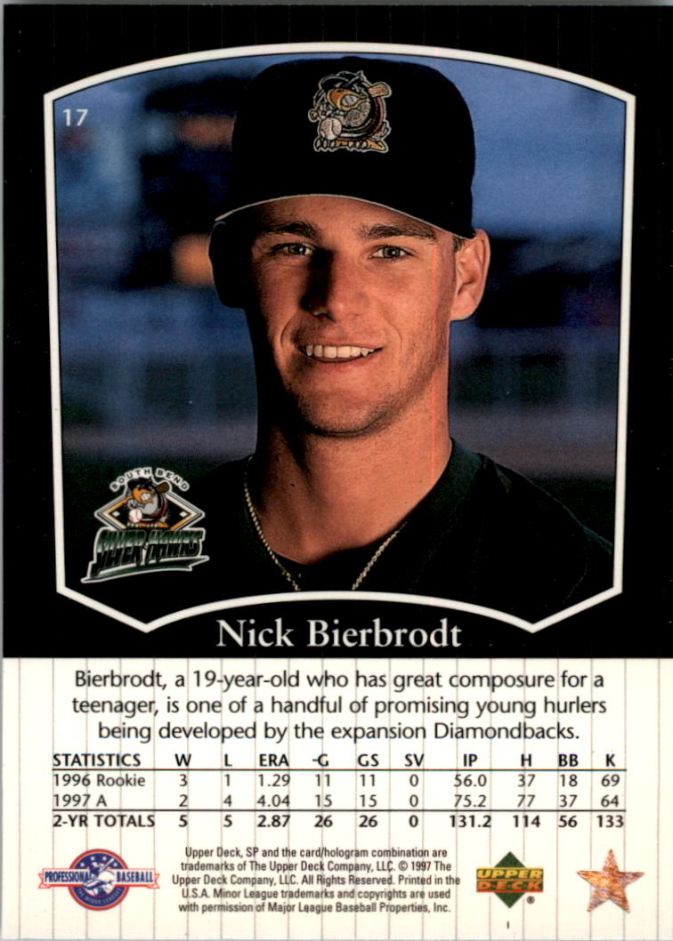 1998 SP Top Prospects #17 Nick Bierbrodt back image
