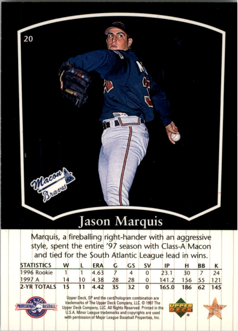 1998 SP Top Prospects #20 Jason Marquis back image