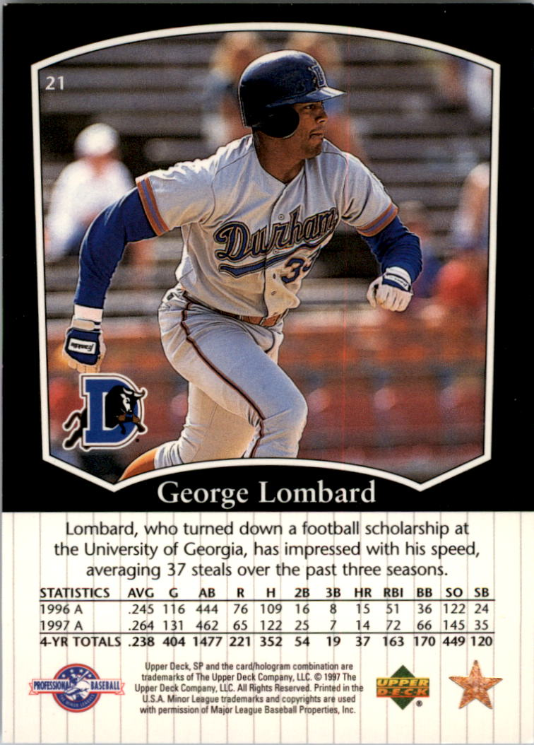 1998 SP Top Prospects #21 George Lombard back image