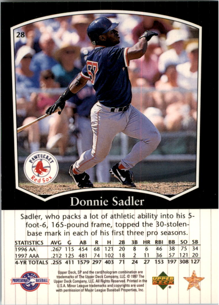 1998 SP Top Prospects #28 Donnie Sadler back image