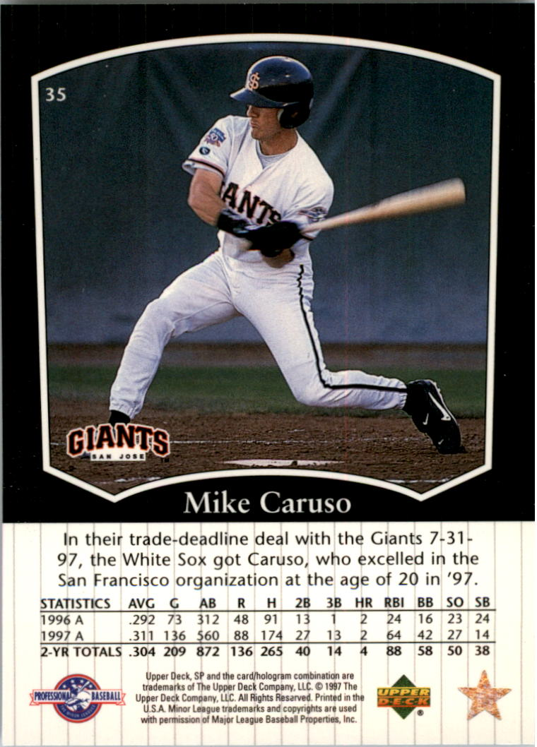 1998 SP Top Prospects #35 Mike Caruso back image