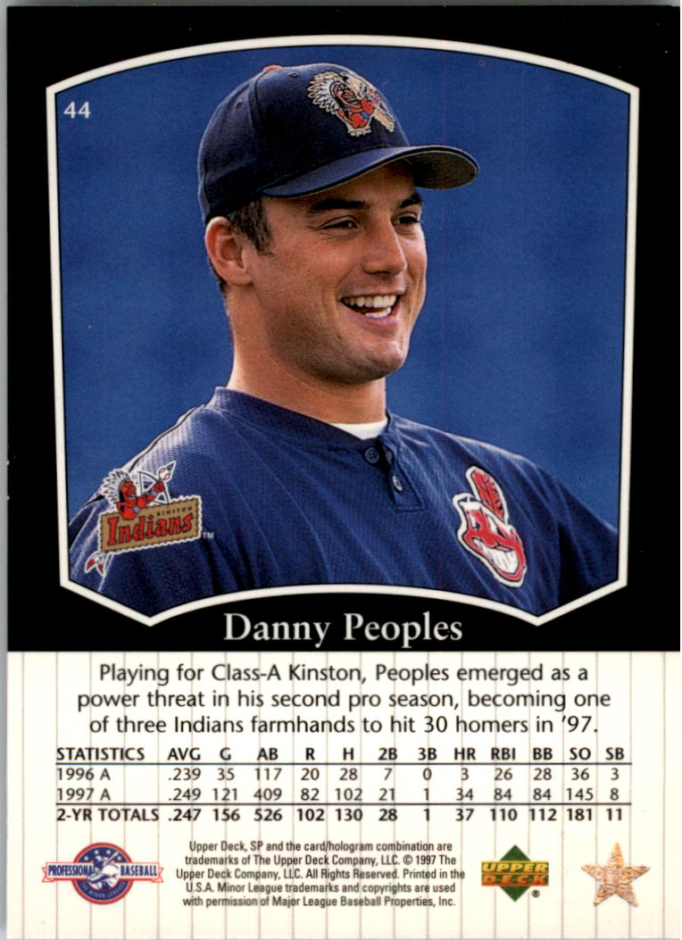 1998 SP Top Prospects #44 Danny Peoples back image
