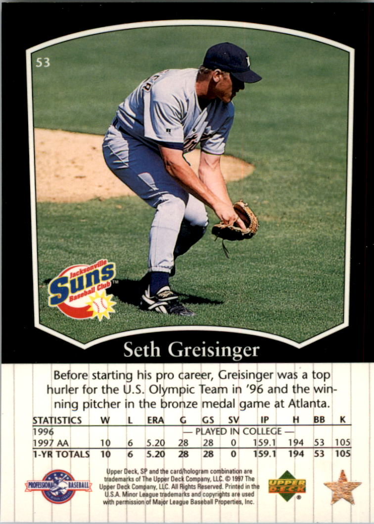1998 SP Top Prospects #53 Seth Greisinger back image