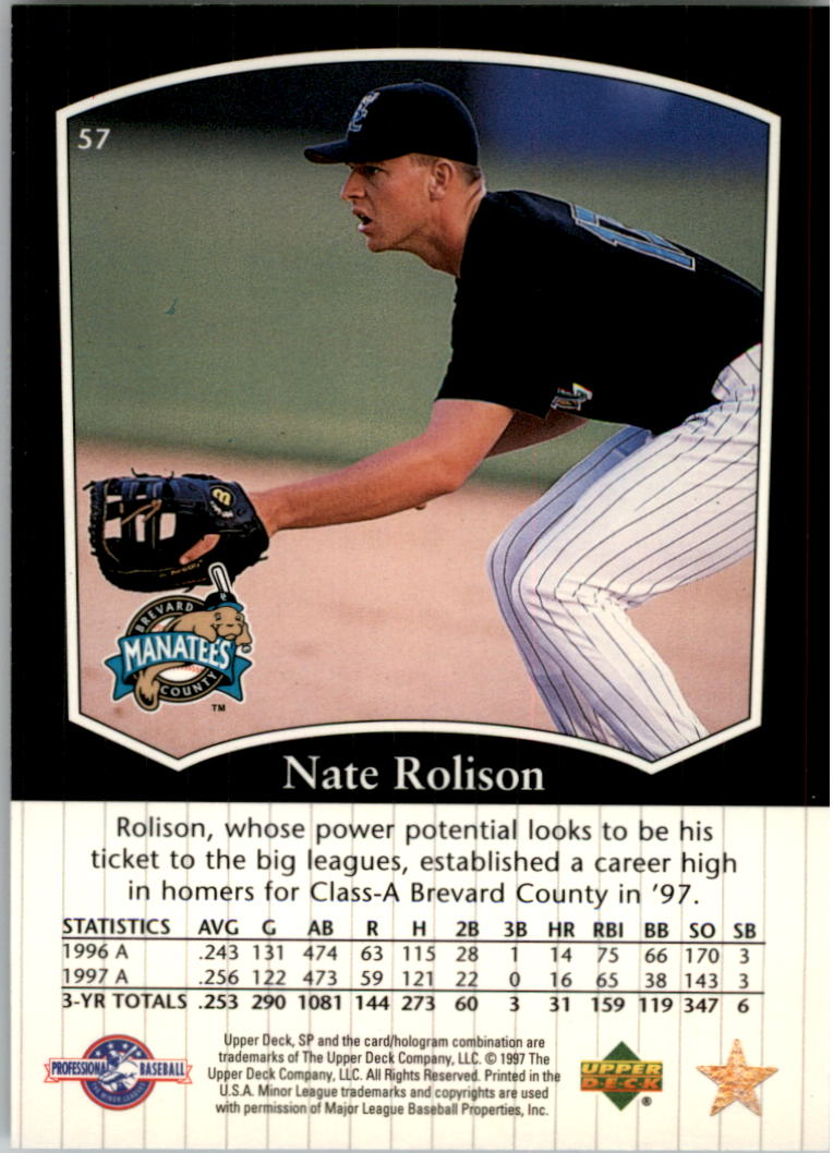 1998 SP Top Prospects #57 Nate Rolison back image
