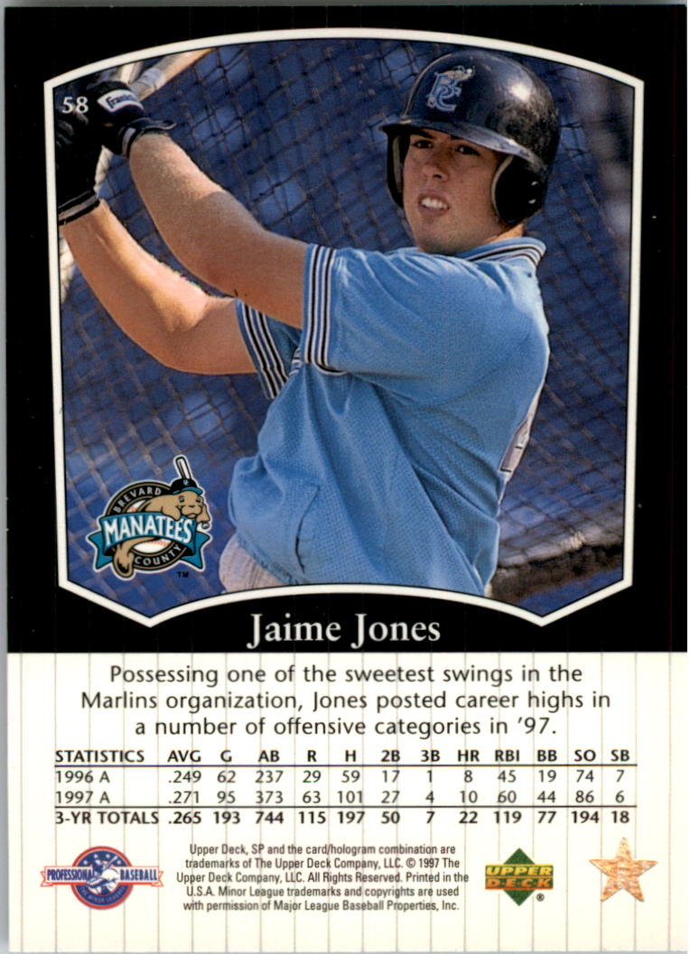 1998 SP Top Prospects #58 Jaime Jones back image