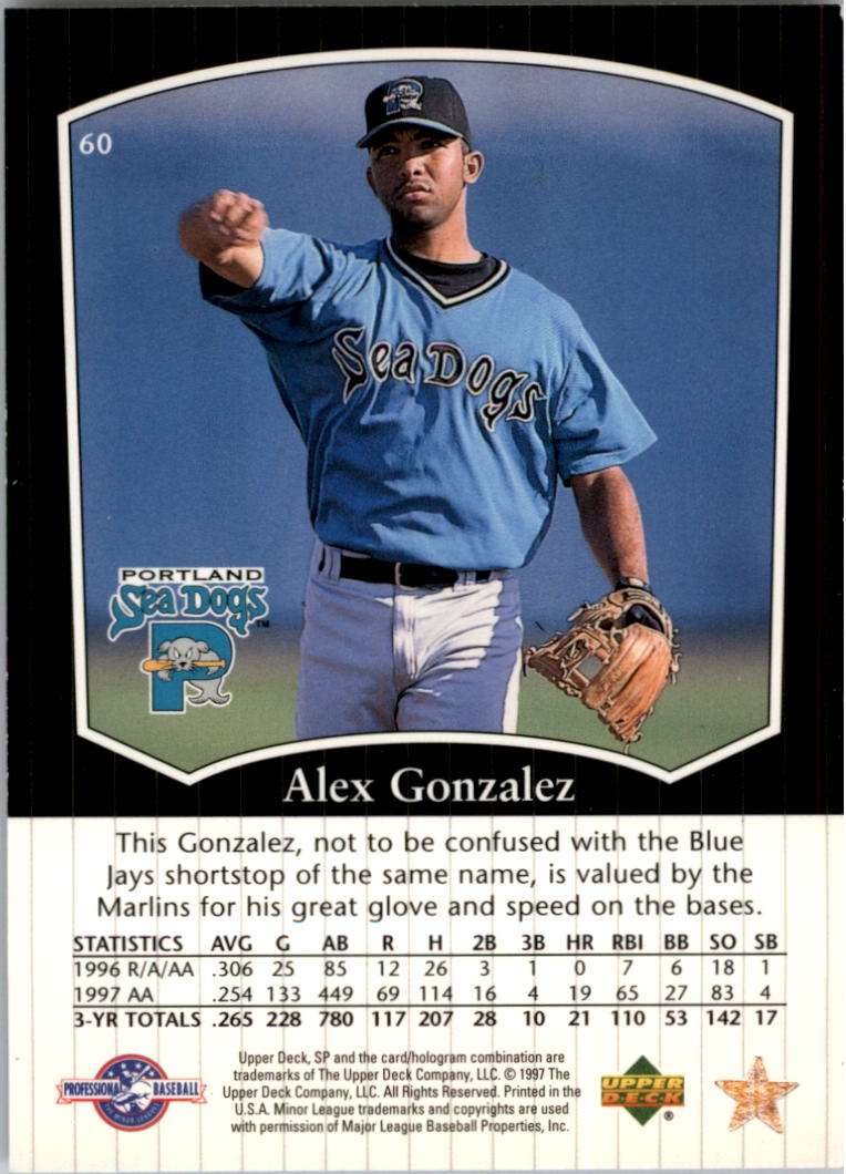1998 SP Top Prospects #60 Alex Gonzalez back image
