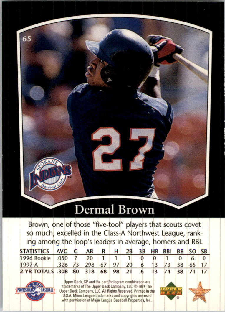 1998 SP Top Prospects #65 Dermal Brown back image