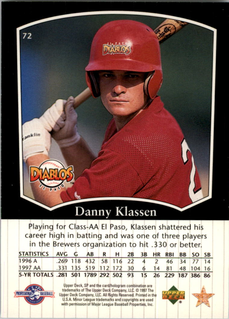 1998 SP Top Prospects #72 Danny Klassen back image