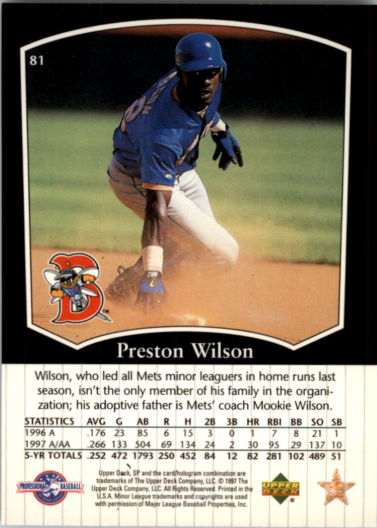 1998 SP Top Prospects #81 Preston Wilson back image