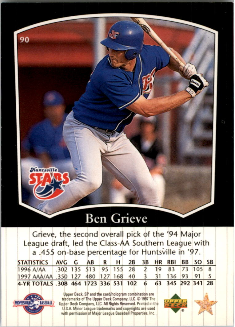 1998 SP Top Prospects #90 Ben Grieve back image