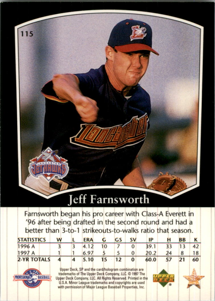 1998 SP Top Prospects #115 Jeff Farnsworth back image