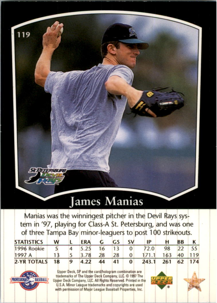 1998 SP Top Prospects #119 James Manias back image