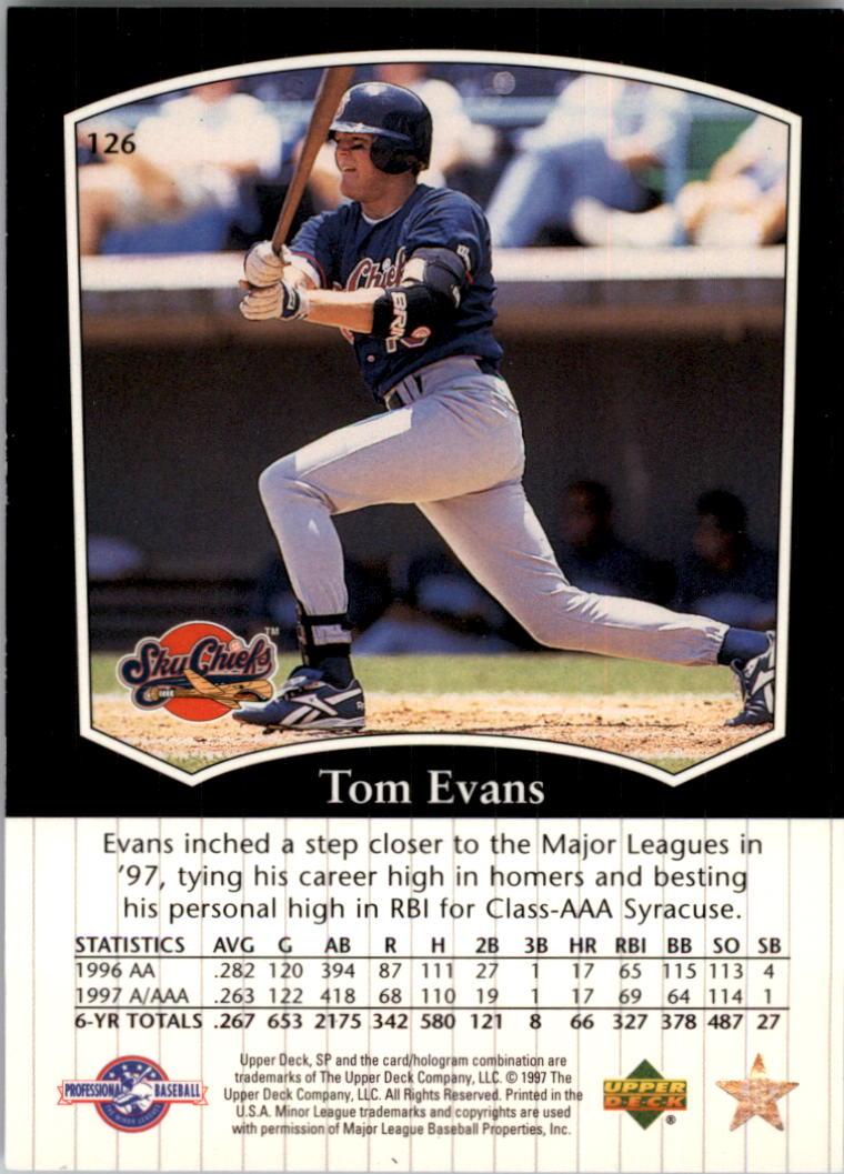 1998 SP Top Prospects #126 Tom Evans back image