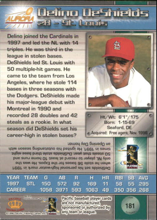 1998 Aurora #181 Delino DeShields back image