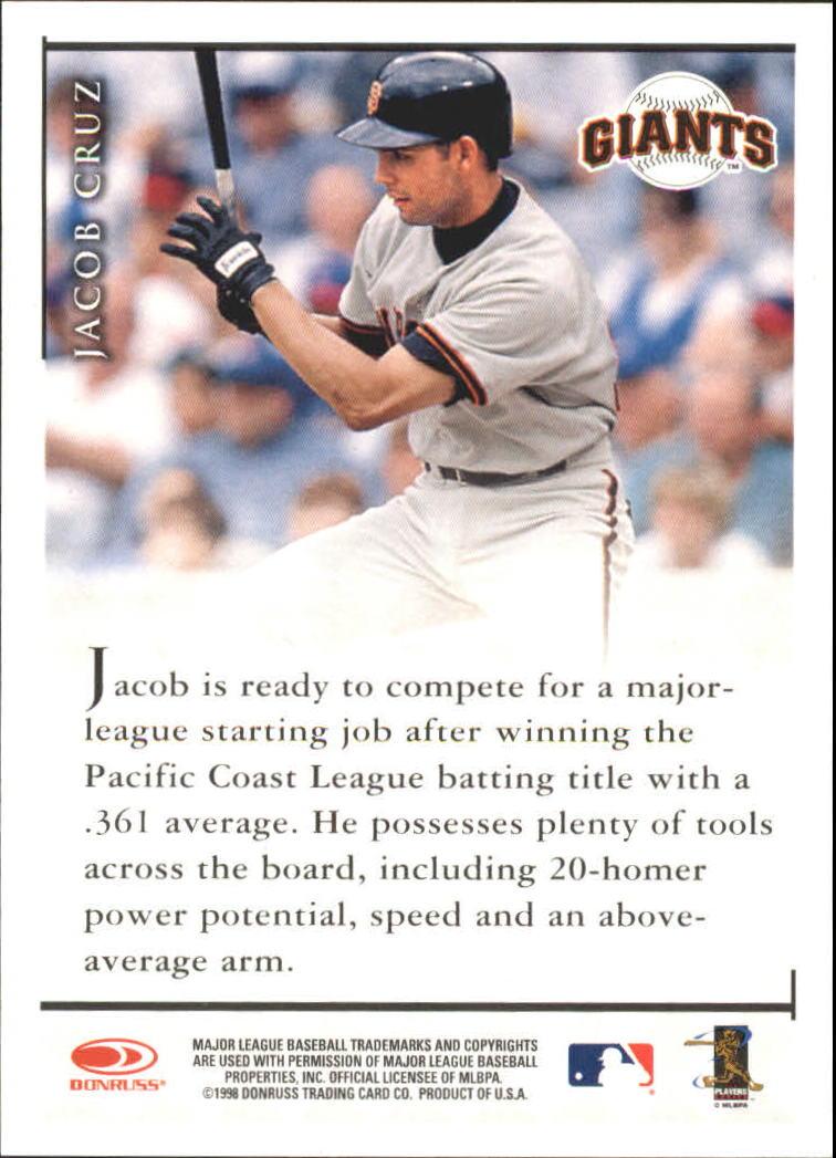 1998 Donruss Signature Autographs #24 Jacob Cruz/3200* back image