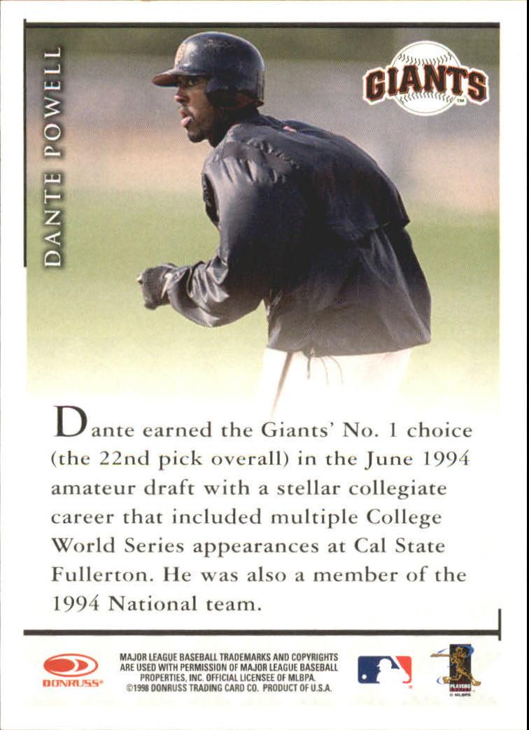 1998 Donruss Signature Autographs #71 Dante Powell/3050* back image