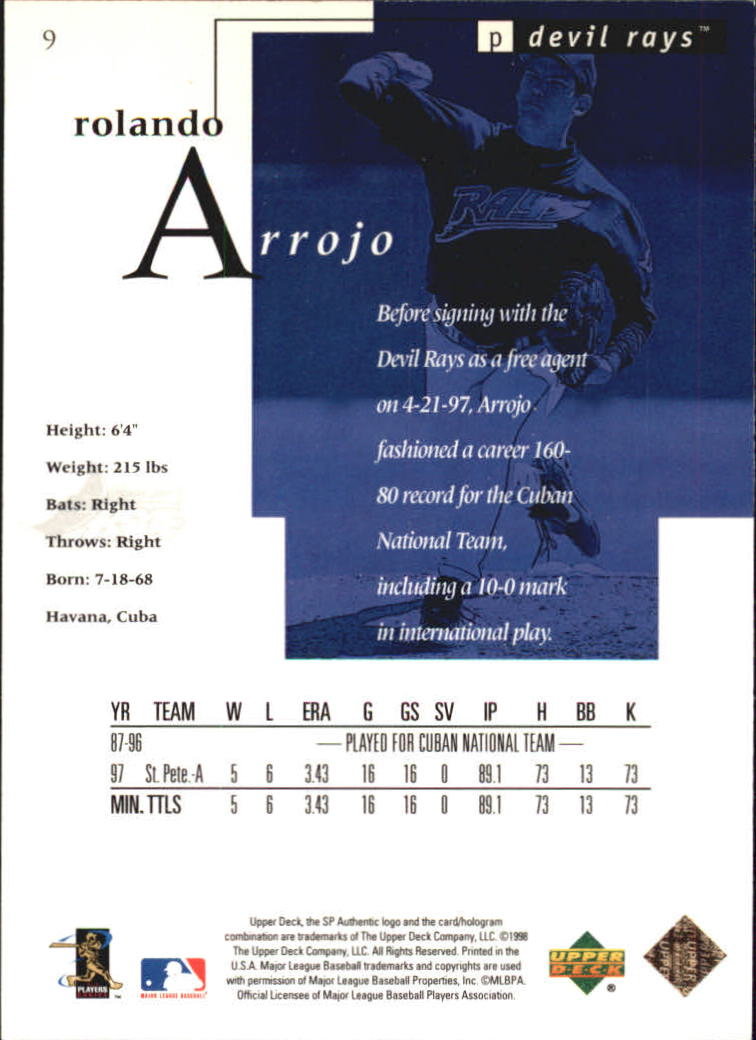 1998 SP Authentic #9 Rolando Arrojo FOIL RC back image