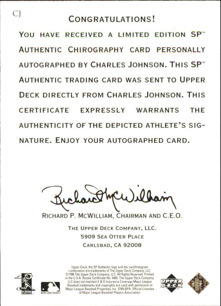 1998 SP Authentic Chirography #CJ Charles Johnson back image