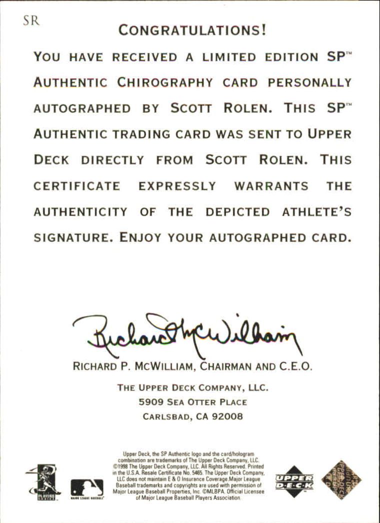 1998 SP Authentic Chirography #SR Scott Rolen back image