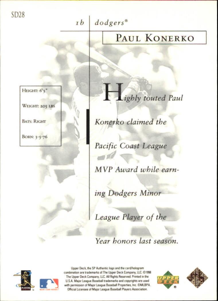 1998 SP Authentic Sheer Dominance #SD28 Paul Konerko back image