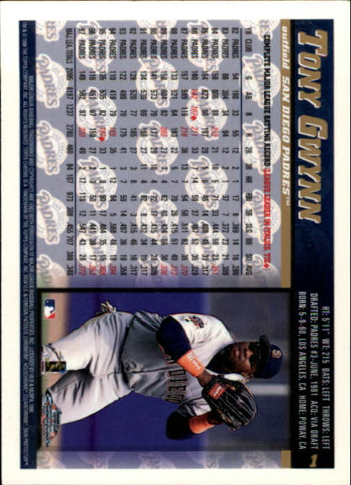 1998 Topps Chrome #1 Tony Gwynn back image