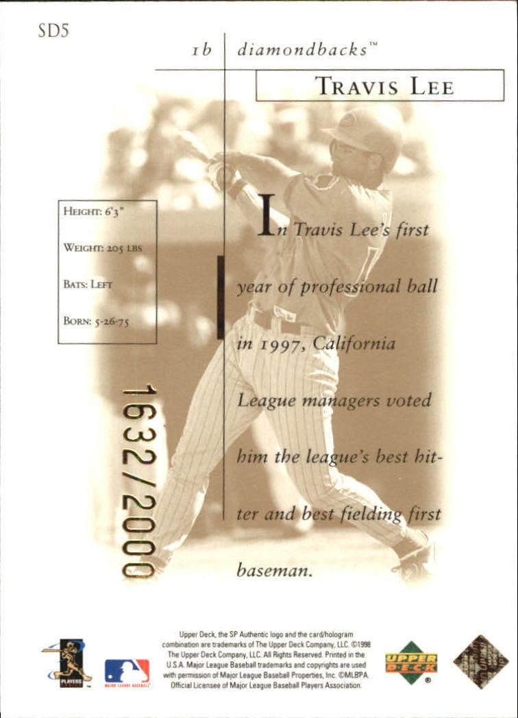 1998 SP Authentic Sheer Dominance Gold #SD5 Travis Lee back image