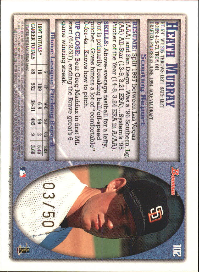 1998 Bowman Golden Anniversary #102 Heath Murray back image