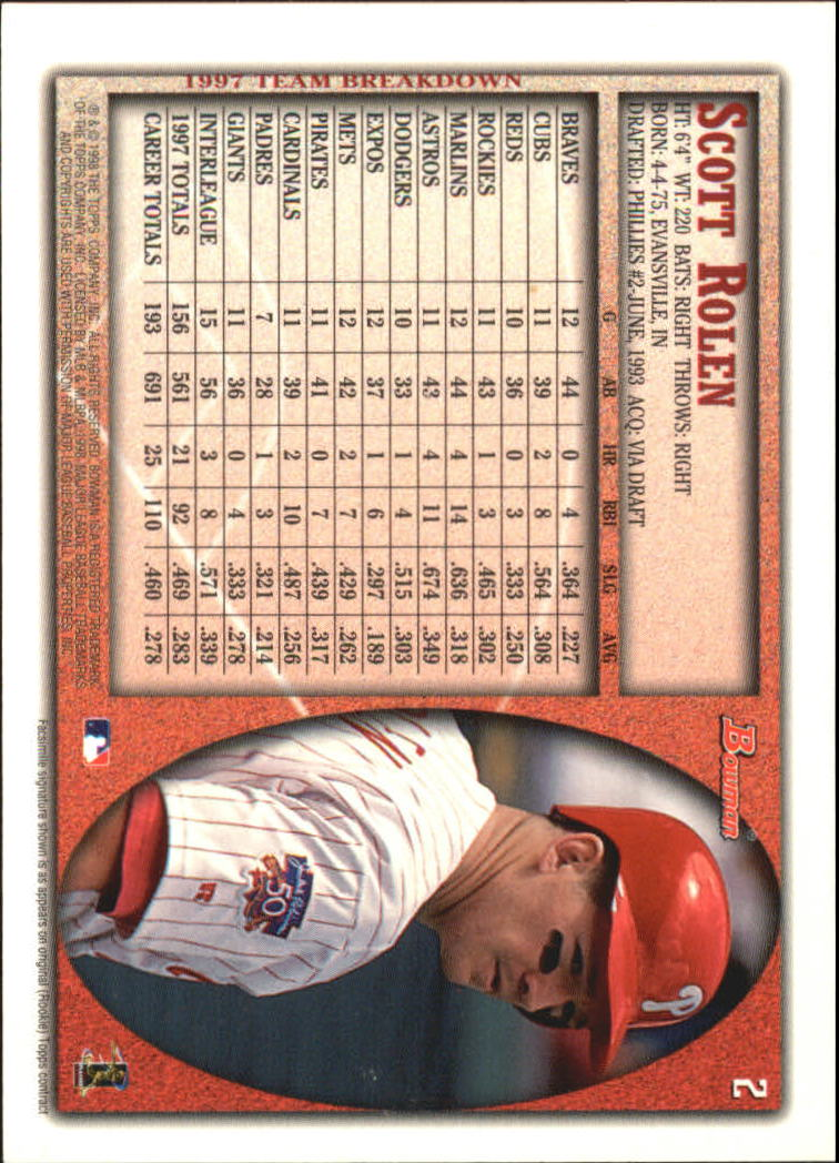1998 Bowman International #2 Scott Rolen back image
