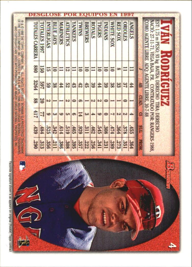 1998 Bowman International #4 Ivan Rodriguez back image