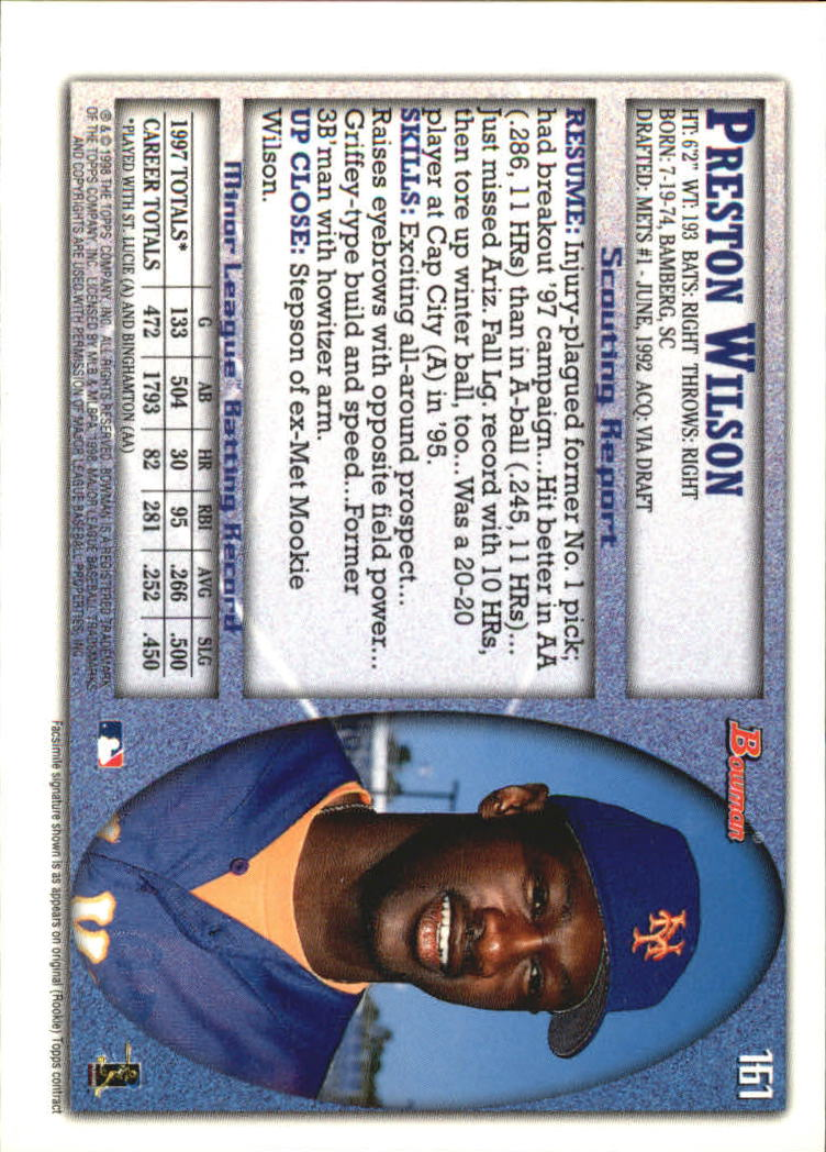 1998 Bowman International #161 Preston Wilson back image