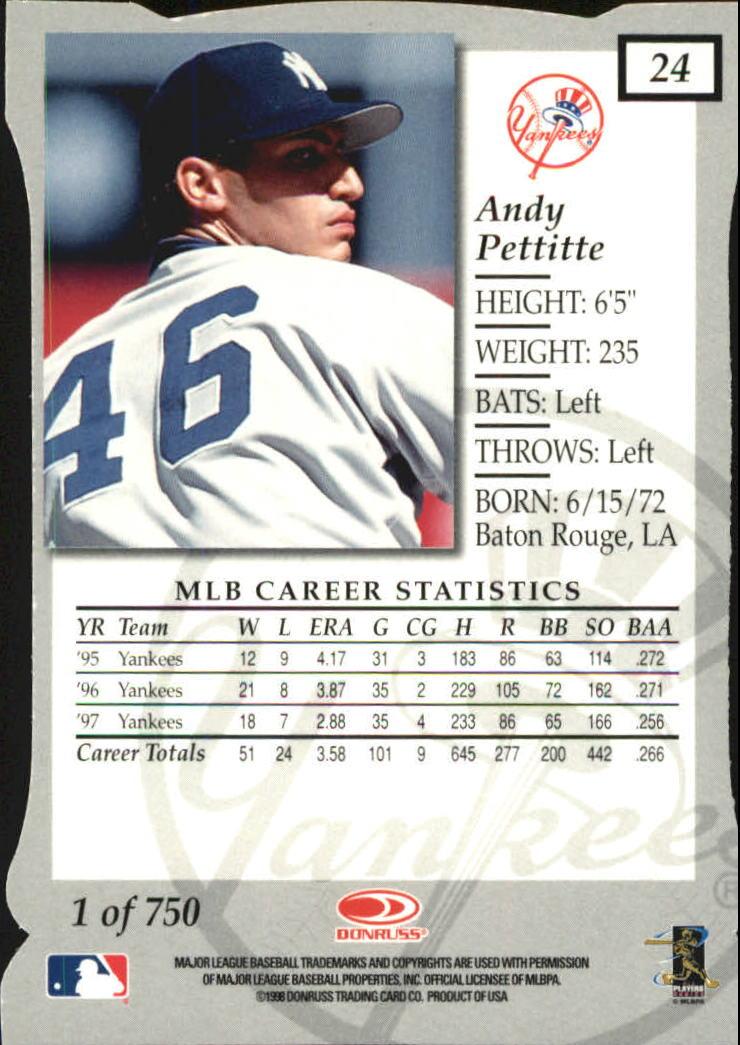 1998 Donruss Elite Aspirations #24 Andy Pettitte back image