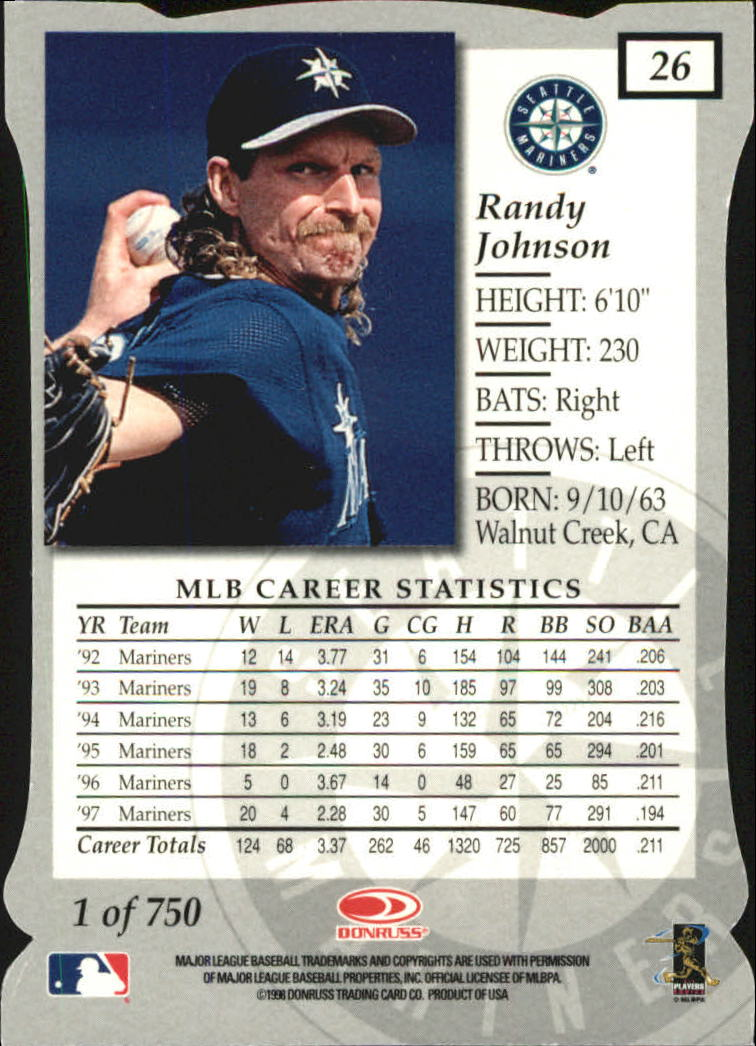 1998 Donruss Elite Aspirations #26 Randy Johnson back image