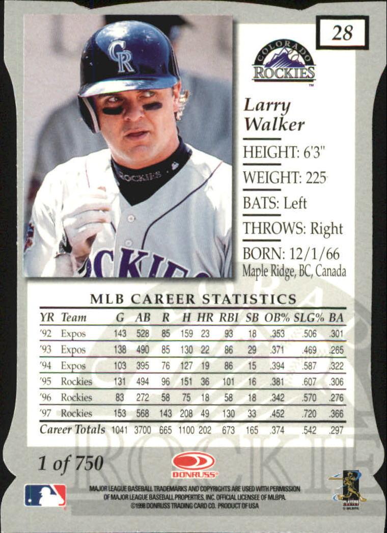 1998 Donruss Elite Aspirations #28 Larry Walker back image