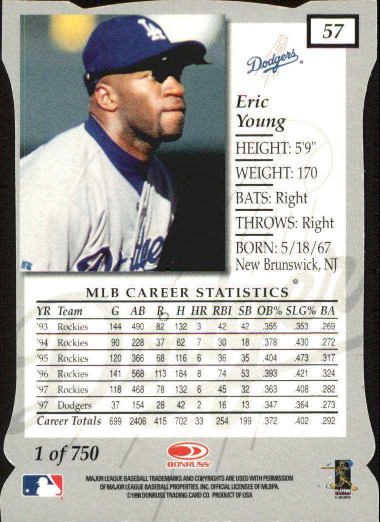 1998 Donruss Elite Aspirations #57 Eric Young back image