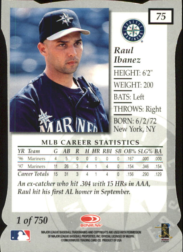 1998 Donruss Elite Aspirations #75 Raul Ibanez back image