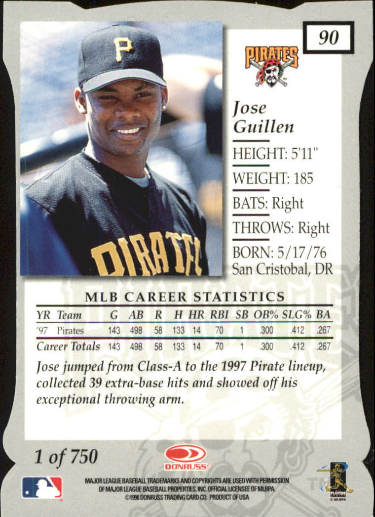 1998 Donruss Elite Aspirations #90 Jose Guillen back image