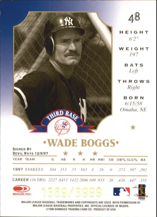 1998 Leaf Fractal Foundations #48 Wade Boggs back image