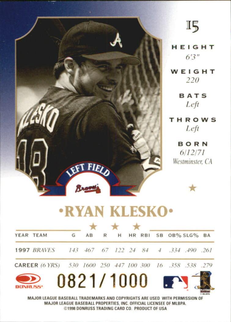 1998 Leaf Fractal Materials #15 Ryan Klesko LX back image