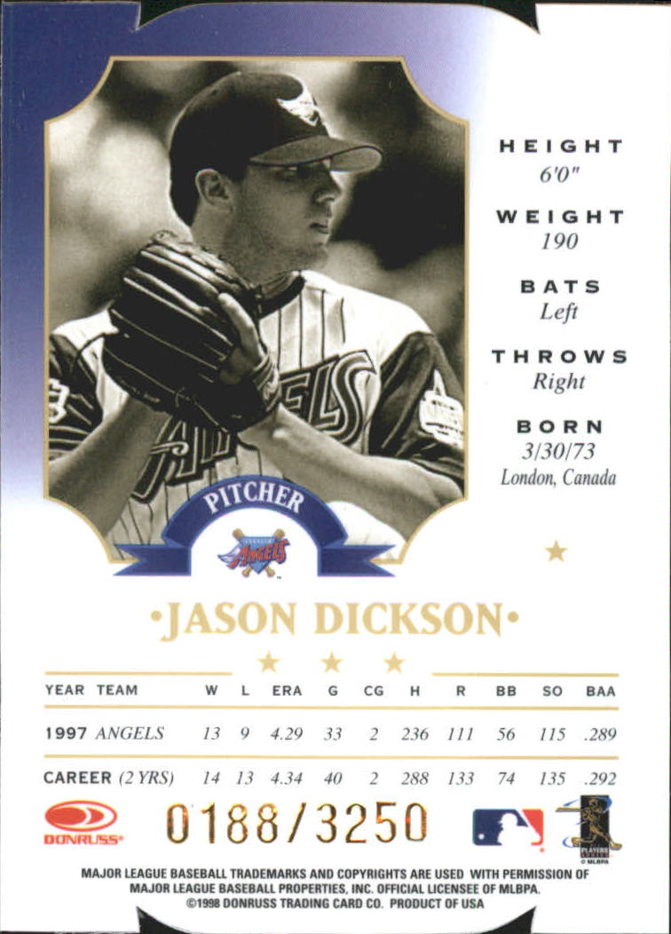 1998 Leaf Fractal Materials Die Cuts #141 Jason Dickson PX back image