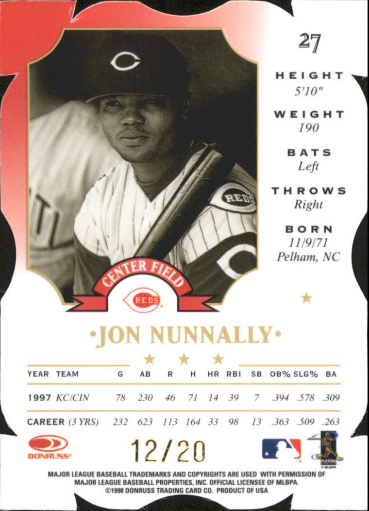 1998 Leaf Fractal Materials Z2 Axis #27 Jon Nunnally P back image