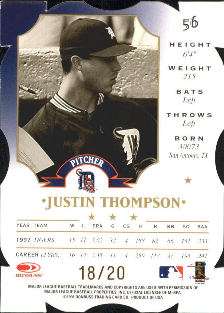 1998 Leaf Fractal Materials Z2 Axis #56 Justin Thompson N back image